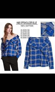 H&M Offshoulder Blouse - Blue #PrelovedWithLove #dibuangsayang