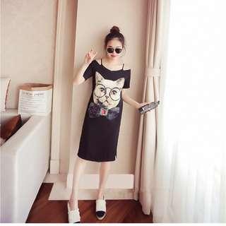 【全新轉賣】女裝XL夏裝卡通貓咪露肩休閒連身裙短袖顯瘦一字肩中長裙氣質