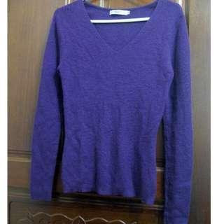 🚚 百貨專櫃epabis葡萄紫V領長袖羊毛衫38號
