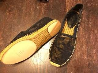 D&G Espadrille 黑色蕾絲草鞋37號