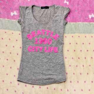 灰色字母純棉短袖貼身T恤(二手出清)