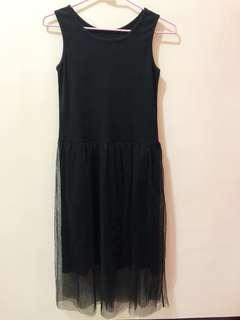 黑色棉質背心網紗裙洋裝