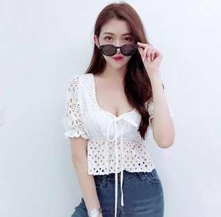 Aubree Crotchet Peplum Top (Alescere)