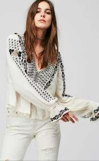Bohemian Crop Blouse With Floral Embroidery
