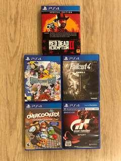 PS4 Games (RDR2 數碼寶貝世界 Fallout Overcooked GT)
