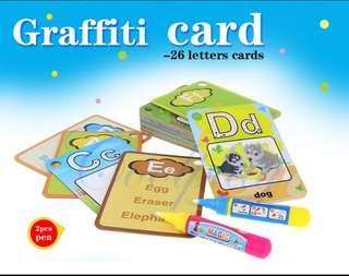 🚚 Instock 26 Alphabets Water Drawing Cards 2-Magic Drawing Pen
