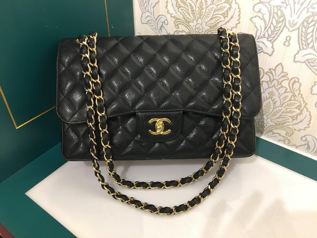 7db03ebd8af 18 Like New Chanel Jumbo Classic Double Flap Black Caviar with GHW ...