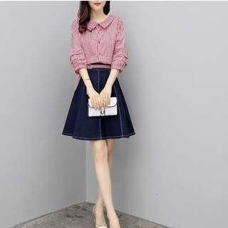 【全新轉賣】女裝XL春秋裝牛仔裙襯衫兩件式時髦套裝