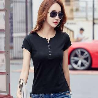 【全新轉賣】女裝XL短袖T恤女v領純棉修身夏季純色百搭