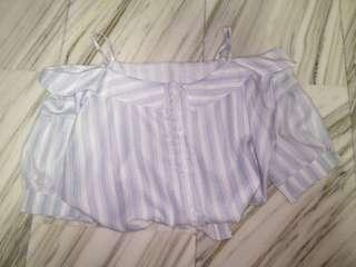 cute blue stripe off shoulder spaghetti strap top ulzzang