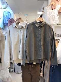 正韓 單口袋棉麻襯衫(售左卡其)