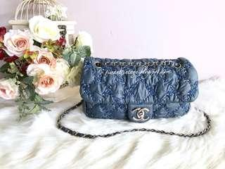 Chanel Quilted Bubble Tweed on Stitch Flap Bag-Blue
