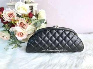 Chanel Quilted Timeless Clutch-Black