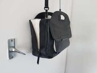 Mimco black leather handbag with removable strap