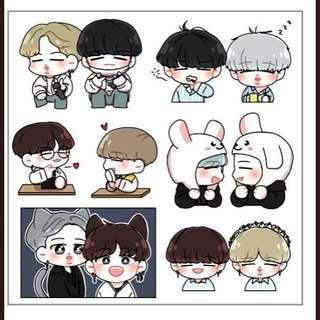 [Share GO] BTS Suga Jimin Fanart transparent sticker sheet