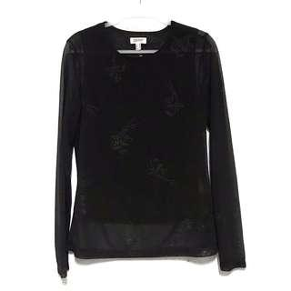 ESPRIT Black Flower Rhinestoned Sheer Top