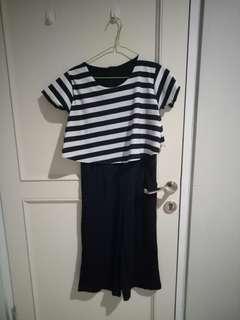 Jumpsuit stripe hitam putih