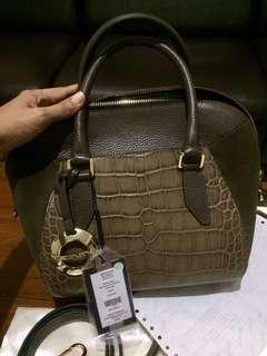 DONINI crocodile emboss leather bag