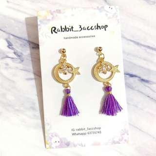 星月紫色流蘇耳環handmade