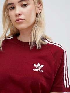 現貨-Adidas Originals 3 tripe T-shirt in Burgundy 三葉草基本條紋短T