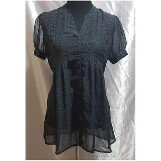 Preloved Authentic Forever 21 Sheer Printed Blouse (Size Details on Description)