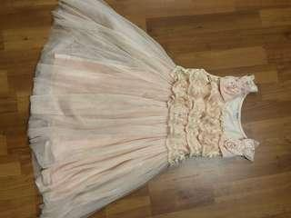 Dress with tile lace pearl