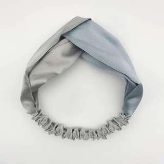 4-01 Beautiful Elastic Headband with Grey and Silver, bicolour, Hair Band Turban Twist Knot Women