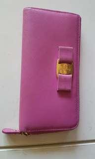 Authentic Ferragamo vara bow ribbon pink  zip wallet