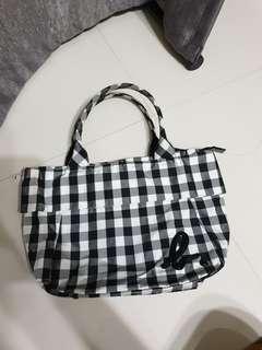 Agnes b nylon checkered bag
