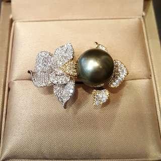(sold) Tahitian pearl ring 925 cubic zirconia 12mm