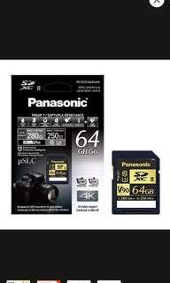 Panasonic SDXC 64gb UHS-II memory card
