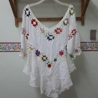 Boho Beach Crochet Blouse