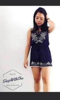 Ariel Embroidered Romper in Navy Blue