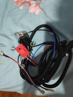 Car horn wiring and harness with fuse and relay