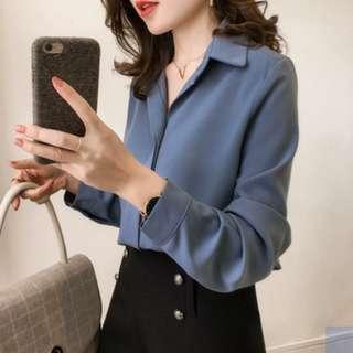 🚚 BN Blue Chiffon Button Down Shirt