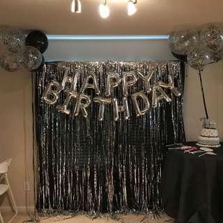 BIRTHDAY SET (Tanpa Rumbai) Foil Balloon Balon Happy Birthday Full Set Silver Theme