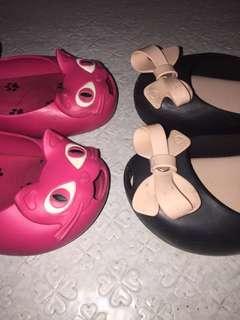 92f3f8f2b6 Mini Melissa Ultragirl Pink Cat Black Bow Jelly Shoes