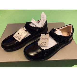 女童黑色真皮皮鞋