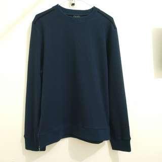 男裝 dark blue sweater/top with zippers 深藍色上衣 拉鏈