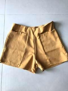 High Waisted Mustard Shorts