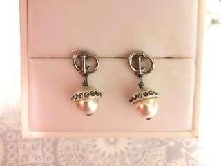 Dior CD 耳環 珍珠 earring 水晶