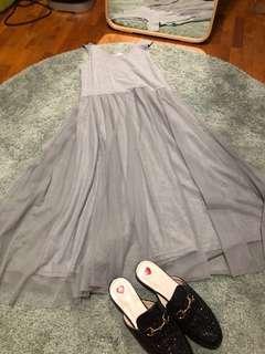 Cotton Tulle / Mesh Midi Dress