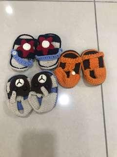 Baby Booties- 3 pairs