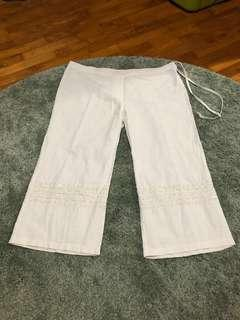 White 3/4 Pants with Sequins