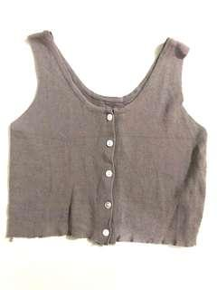 🚚 Button Down Crop Top (Taupe)