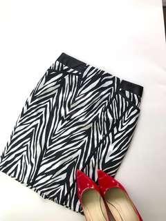Skirt (SALE) - Black and White Animal Print Pencil Skirt