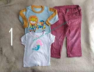 Combo pants, long and short sleeve Girl 2-3 Y