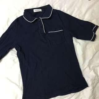Navy stripes collar top