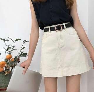 🚚 Ulzzang Cream Denim Highwaist Skirt
