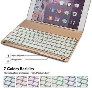 iPad Air 2 Keyboard Case with 7 Colors LED Backlit (Gold)